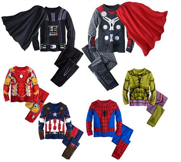 RT-193 Весна Осень 2016 Халк пижамы для мальчиков детей Бэтмен пижамы супер герой ...