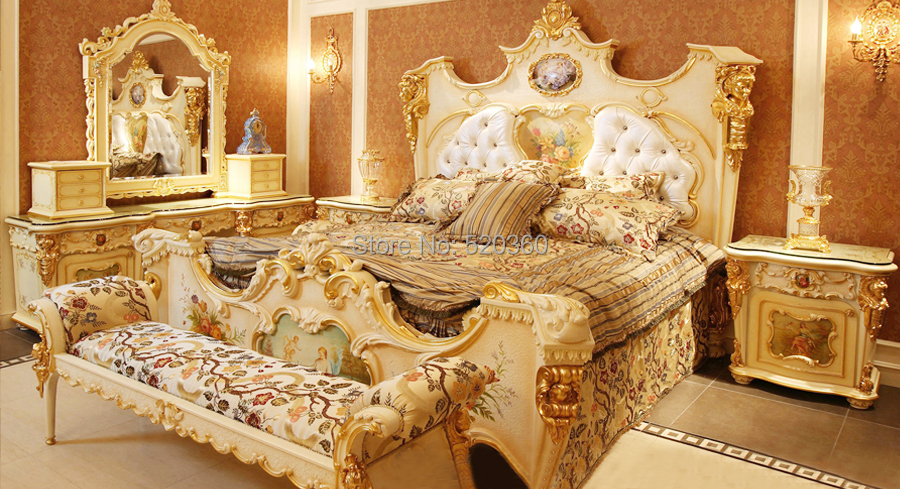 luxury european style woodcarving bedroom set dresser set in wood