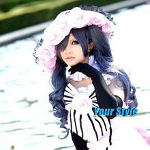 Японский черный батлер Ciel Phantomhive синтетические длинные волнистые синие серый косплей парик лонга
