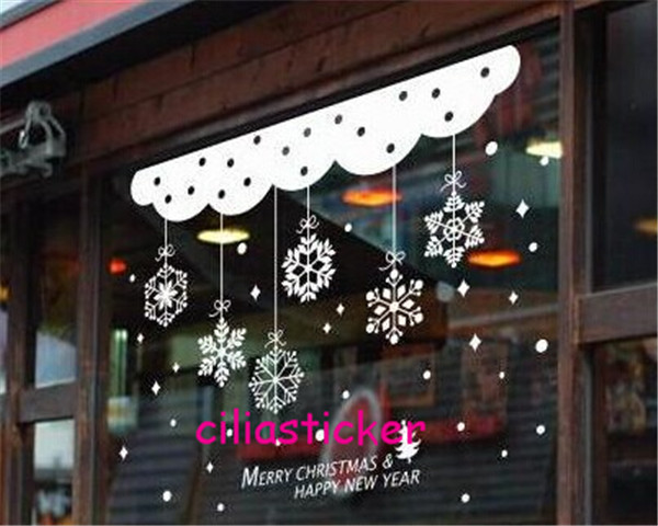 3 x 920*580mm removable wall sticker decal WHITE MERRY CHRISTMAS SNOWFLAKE SNOW HAPPY NEW YEAR SHOW window room home decoration(China (Mainland))