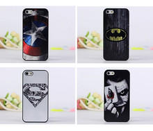 2014 New arrival cute cartoon Superman Batman Captain America clown pattern Cover case for apple iphone 5 5G 5S free shipping