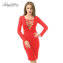 Buy DavyDaisy Women Dress Lace V neck Knee Length Bangdage Long Sleeve Cross Summer Sexy Club Bodycon Sheath Female Dresses DS033 for $7.99 in AliExpress store