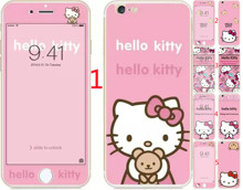 Glass film for iPhone 6 case 6S 4.7″ 5.5″inch Painted pink cats kittys Tempered Glass Screen Protector front+back cover