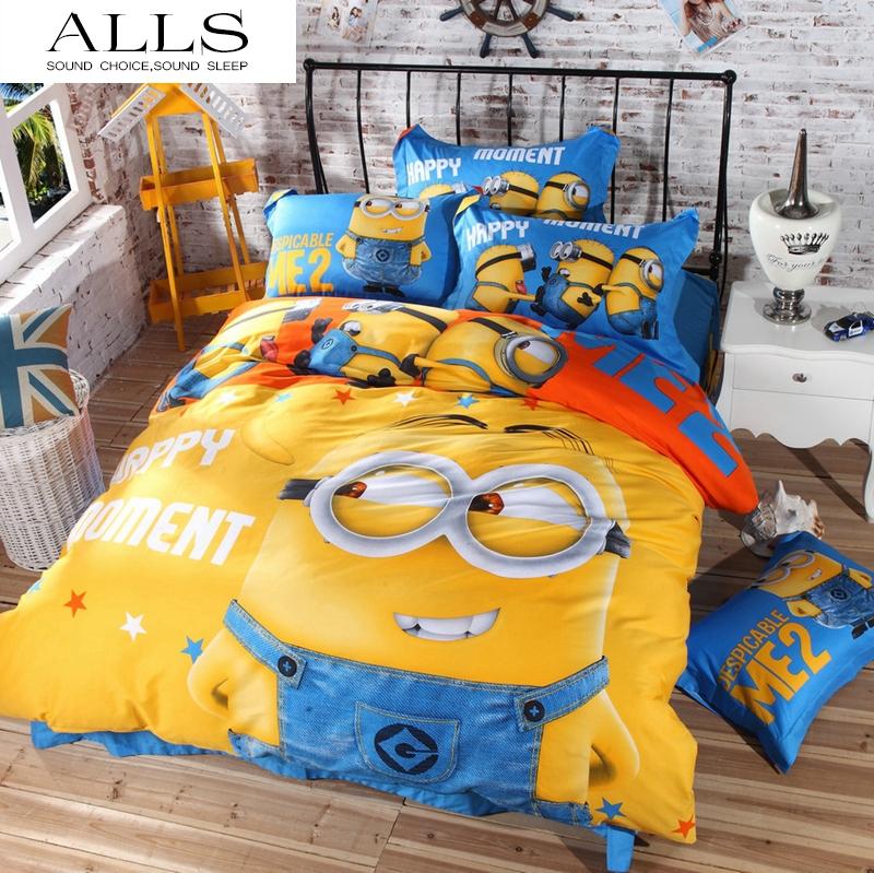 home textile 100% cotton cartoon minions pegman princess girls bedding set with duvet cover flat sheet pillowcase queen size(China (Mainland))