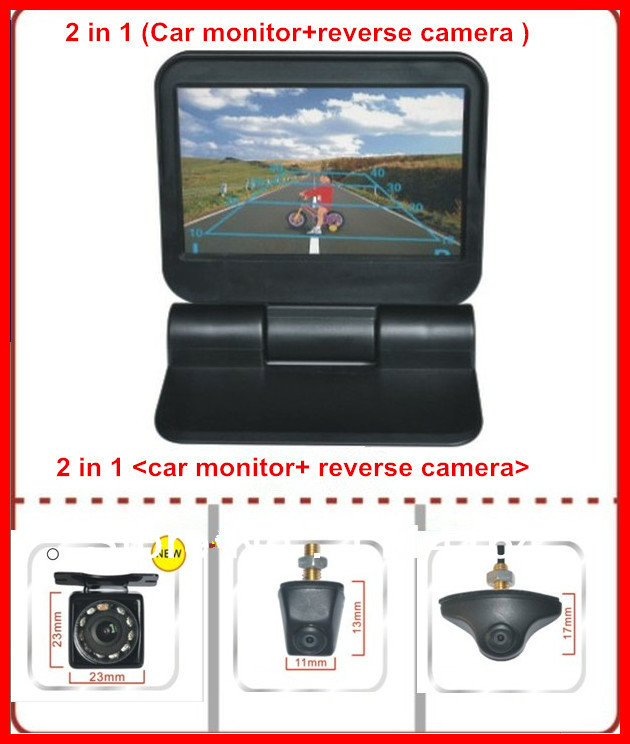 front parking camera with parking video monitor 5 HD 2ch DVD monitor display automatical flip to open close Parking Assistance(China (Mainland))