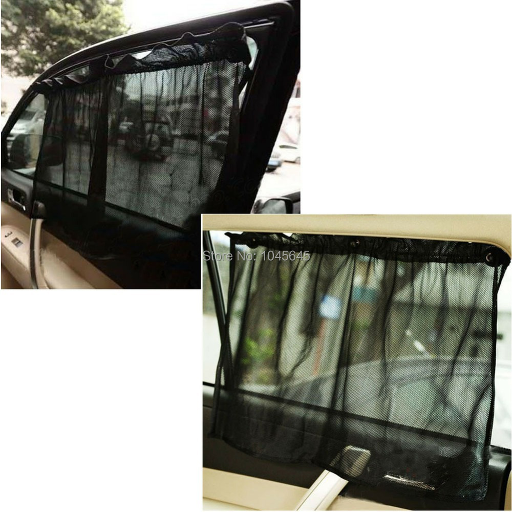 E79 1 Pair Black Car Sun Shade Curtain Suction Cup UV Protection Side Window Curtain(China (Mainland))