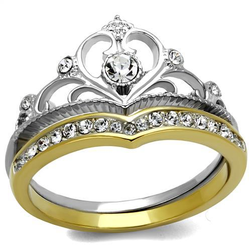 Elegant IP Gold Plated Stainless Steel Premium Quality Crystal Ring High Polished Crown Design Set Rings Environmental Material(China (Mainland))