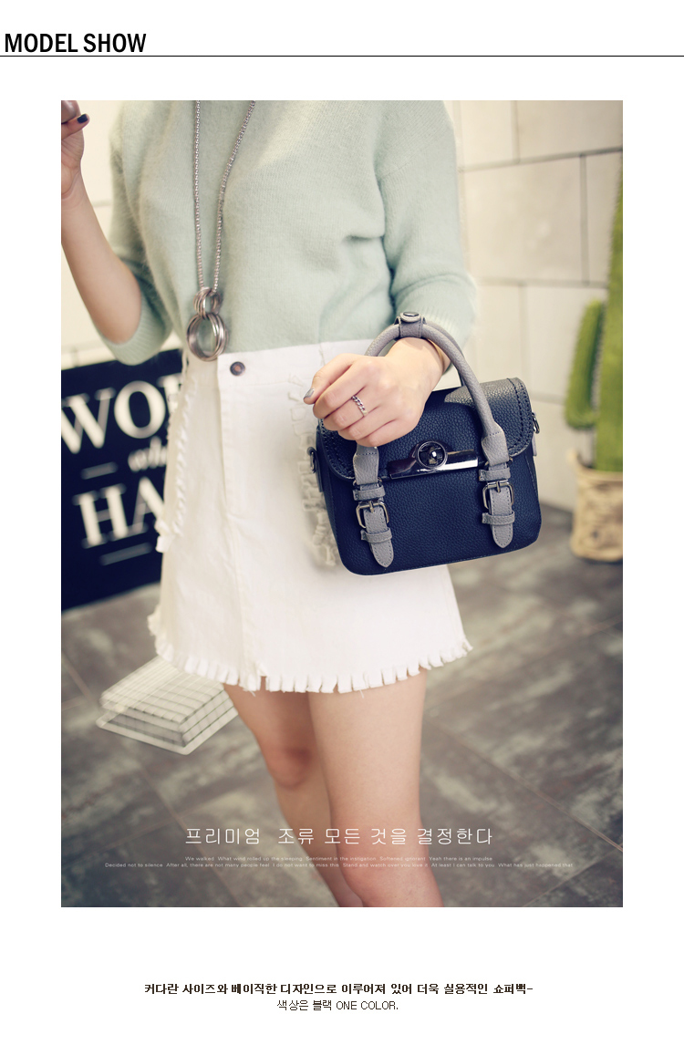 2016 New Fashion Contrast Color Small Handbag Designer Belt Buckle Flap Bag Women Korean Style Stylish PU Shoulder Bag