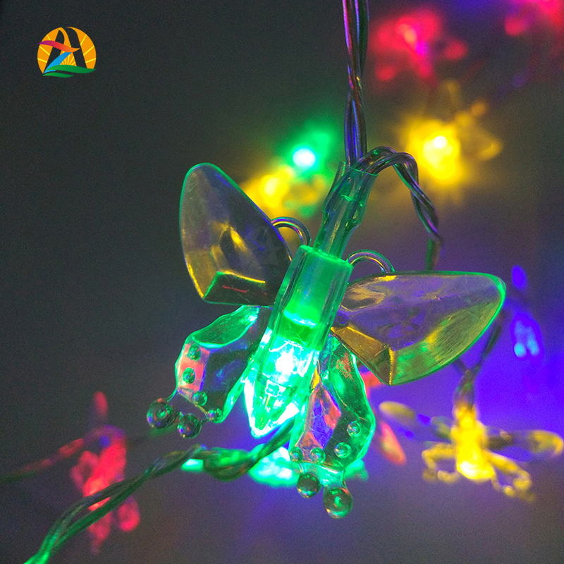 2016 Wedding Party Decoration 20LED 2M RGB Colorful Butterfly LED Holiday Lights AA Battery Operated Novelty Decor. String Light(China (Mainland))