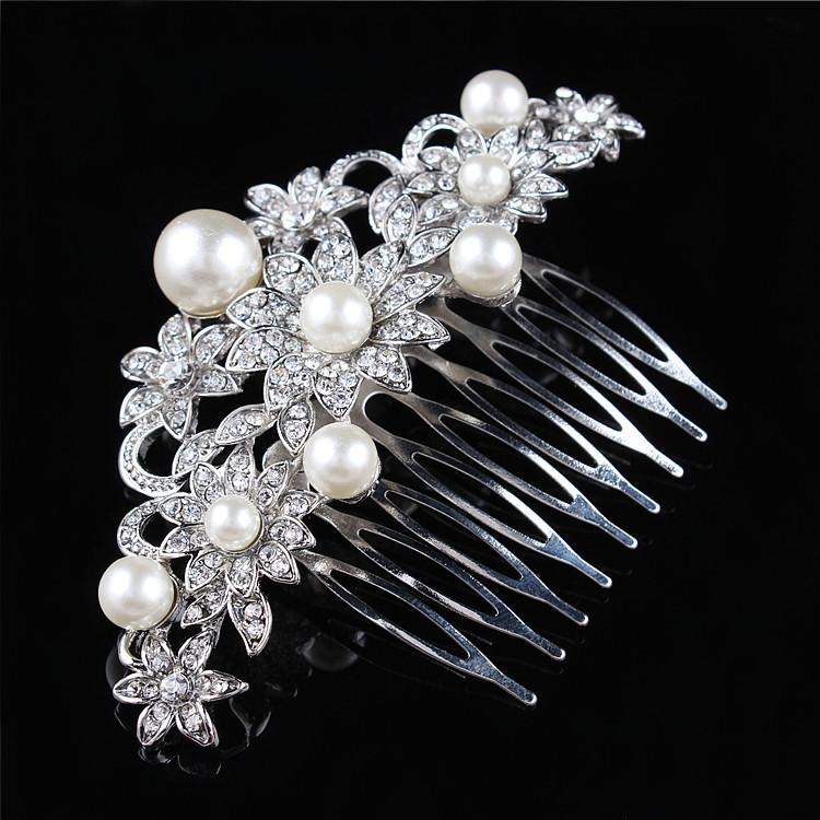 Handmade Wedding Bridal Hair Combs Tiara Pearl Rhinestone Flower Pins Vintage Party Prom Bridesmaid Accessories