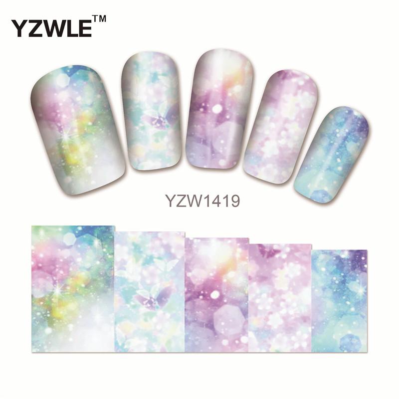 YZWLE 1 Sheet Chic Flower Nail Art Water Decals Transfer Stickers Splendid Water Decals Sticker(YZW-1419)(China (Mainland))