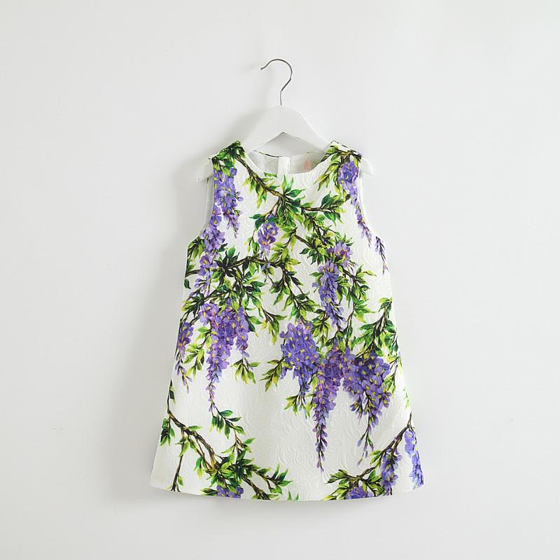 2015 NEWSET!!! Baby Girls Print Floral Vest Dresses Kids Girl Autumn Style Sleevelesse Fashion Princess Dress Childrens Clothes<br><br>Aliexpress