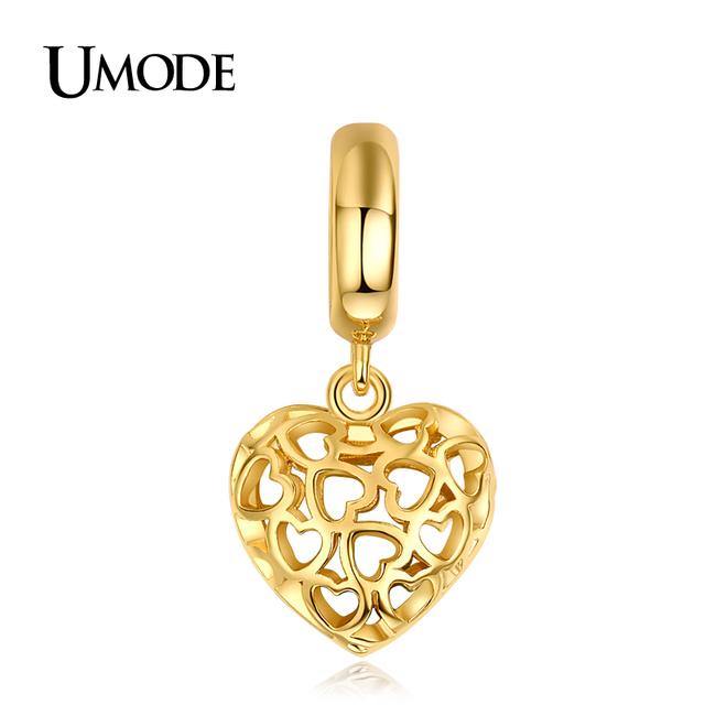Umode нежный позолоченные полые форме сердца DIY брелоки для браслеты украшения для ...