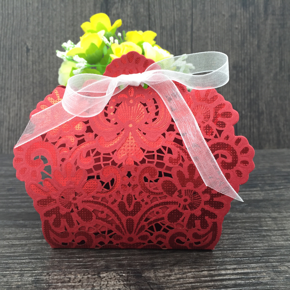 2016 laser red paper candy chocolate box vines flowers wedding favors and gifts for guests wedding party decoration kids ribbon(China (Mainland))
