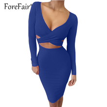 Buy Forefair Sexy Criss Cross Bodycon Dress Women Spring Long Sleeve Night Club Wear Bandage Party Dresses Black Red Blue Vestido for $9.58 in AliExpress store