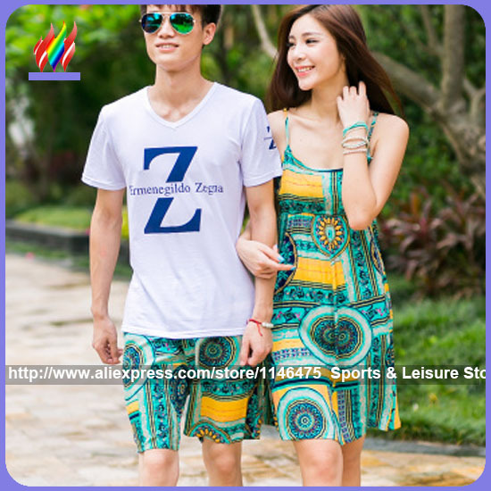 2015 New Fashion Korean Style Matching Couple Clothes Lovers Casual Sleeveless Strapless Beach Wear Floral Bohemian Summer Dress(China (Mainland))