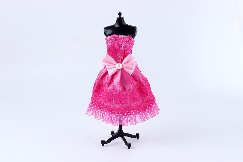Minimalist Model Bowknot Night Gown for Barbie Embroidered lace Silk Gown