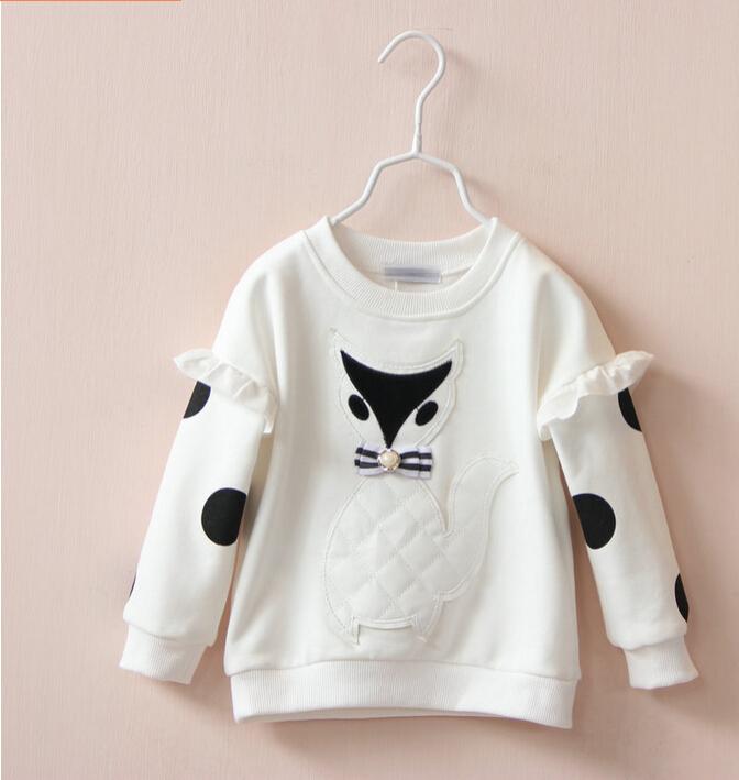 30623336 Wholesale New 2015 Girls Hoodies Ruffles Full Sleeve Appliques Fox Kids Sweatshirts Casual Girls Tops T sirts Lots<br><br>Aliexpress