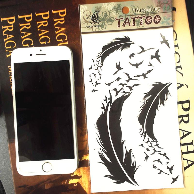 Dark Angel Feather Temporary Tattoo Body Art Flash Tattoo Sticker 17 10cm Waterproof Henna Tatoo Summer