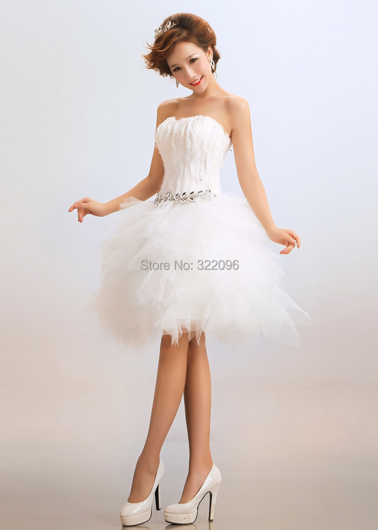 Free shipping China Supply new fashion short wedding dress The wedding dress with Feather and Crystal show hosted clothing(China (Mainland))