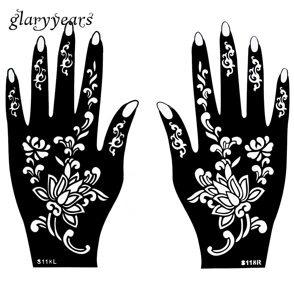 1 Pair Hands Mehndi Henna Tattoo Stencil Waterproof Flower Pattern Design Airbrush Drawing Paint for Women Hand Art Sticker S118