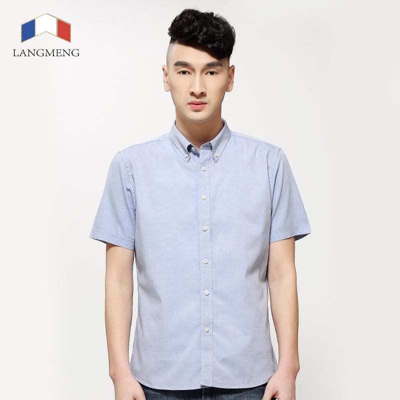Langmeng new 100 cotton 2016 summer mens dress shirts for Mens short sleeve dress shirts slim fit