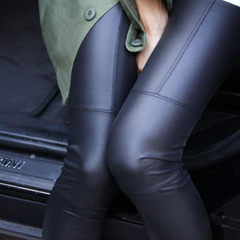 Faux Leather Leggings for Women Sexy Ladies Large Size Legging Pants Trouser Super Elastic Stretch Skinny Pants Jeggings(China (Mainland))