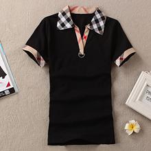 2016 New Short Sleeves Cotton Sports T Shirts Camisetas Mujer Punk Check Collar Camiseta Feminina Tee Shirt Femme Clothing(China (Mainland))