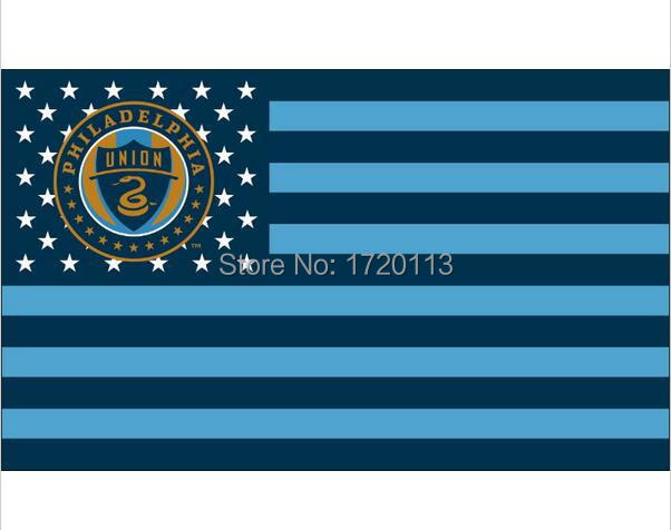 Philadelphia Union with strips and stars Flag 3x5 FT Custom Flag 90x150cm white sleeve with 2 Metal Grommets(China (Mainland))