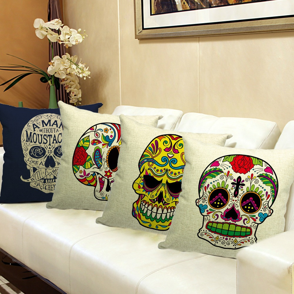 Skull Printed 45x45cm/17.7x17.7'' Linen Cushion For Sofa Decorative Throw Cotton Sofa Decor Couch(China (Mainland))