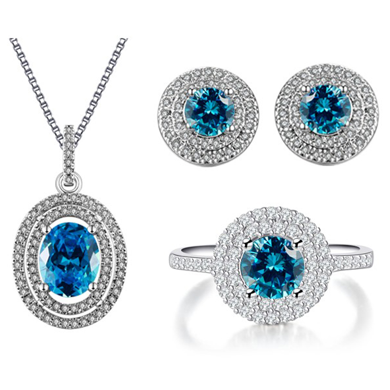 2016 Blue Austrian Crystal Jewelry Set Simulated Diamond Necklace Ring Set Fashoin Jewelry Ladies Earring Jewellery Sets ASM009(China (Mainland))