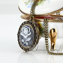 Brass bronze copper antique style openwork cameo rose pocket watch pendant long chain necklaces for men and women fashion