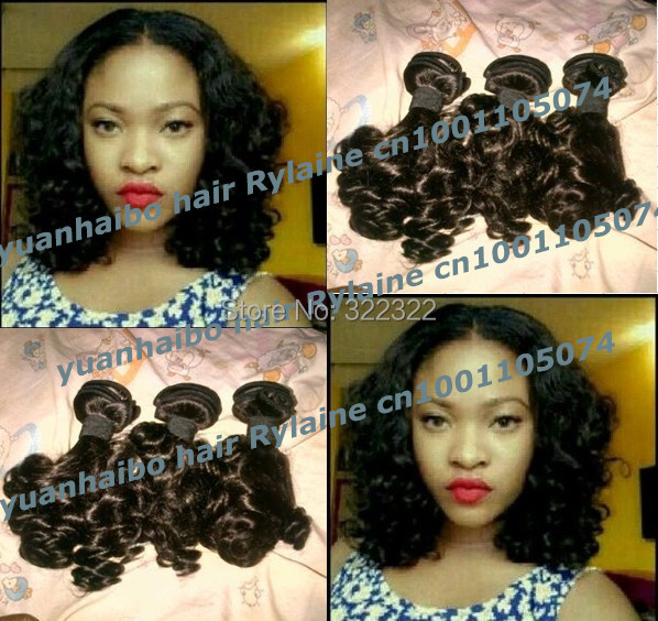 6a grade 3pcs/lot #1b bouncy curl virgin peruvian aunty funmi hair weft affordable price free shipping<br><br>Aliexpress