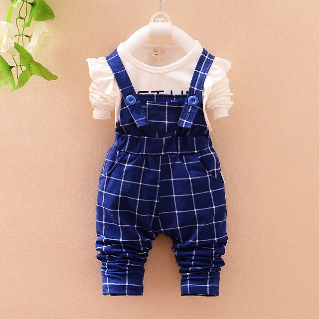Fashion baby girl spring autumn lovely clothing set 2 pcs white letter long sleeve top+plaid straped pants suit for 4-24Mo(China (Mainland))