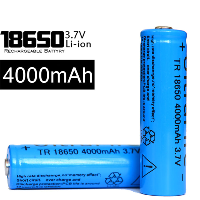 2015New 4Pcs/lot TR 18650 4000 mAh 3.7v rechargeable battery 18650 Lithium li-ion battery for led Flashlight<br><br>Aliexpress