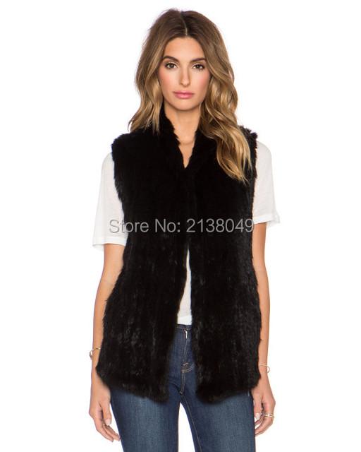 Fv028 теплая зима и осень рукавов пальто ручной вязки кролика меховой жилет