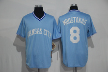 2016 Mens #6 Lorenzo Cain 35 Eric Hosmer 8 Mike Moustakas jersey Throwback Light blue Jerseys(China (Mainland))