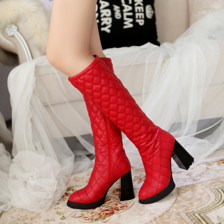 Kickway new women boots 2015 autumn winter Knight boots Thick heel high-heeled knee high lace fashionable boots shoes D345