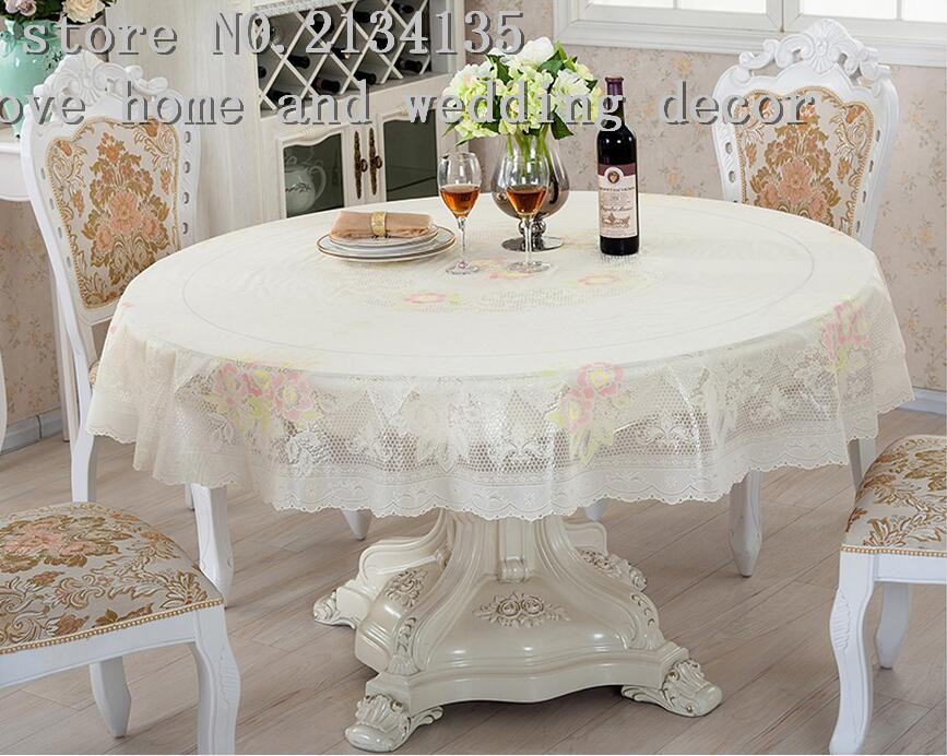The round table cloth round tablecloth cloth PVC waterproof and oil proof plastic disposable wedding supplies(China (Mainland))