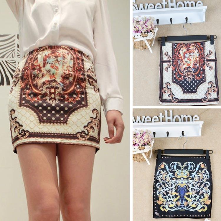 2015 fashion Vintage Boho Print Stretch OL Sexy Slim Pencil Bodycon Tight Mini Skirt sexy short skirt(China (Mainland))