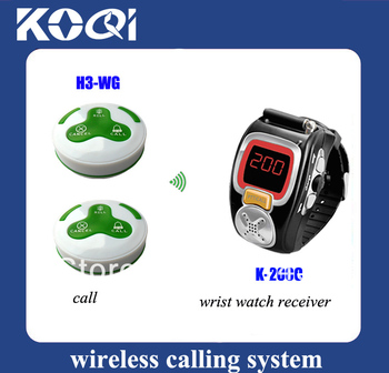 Restaurant paging system of 1pc quanzhou watch K-200C and 10pcs button to call waiters colorful 100% waterproof DHL free ship