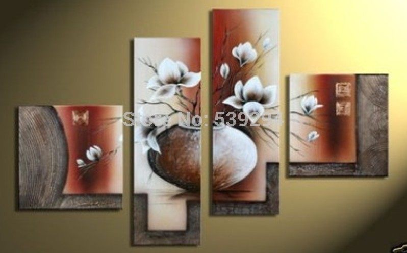 Free shipping hand painted modern wall decor home decor canvas magnolia oil painting abstract - Home decor ltd paint ...