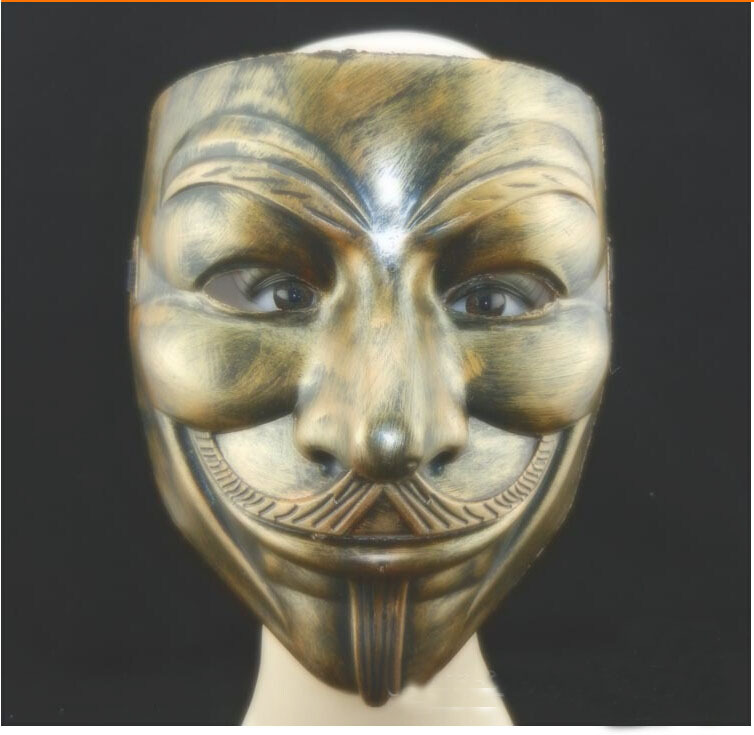 V for Vendetta Guy Fawkes Mask Ancient Gold(China (Mainland))
