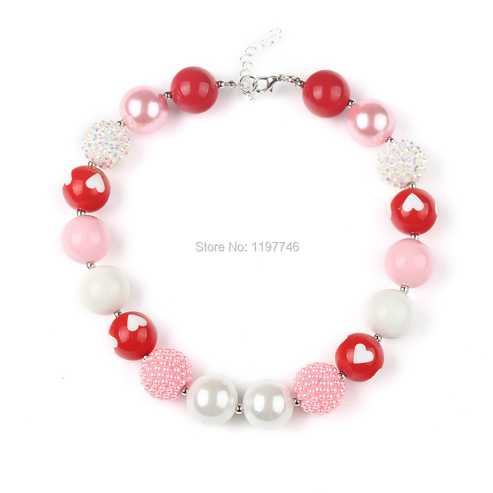 2pcs/lot Lovely Baby girls Chunky Toddler necklace jewelry DIY design Red Heart bubblegum necklace for fashion jewelry!!(China (Mainland))