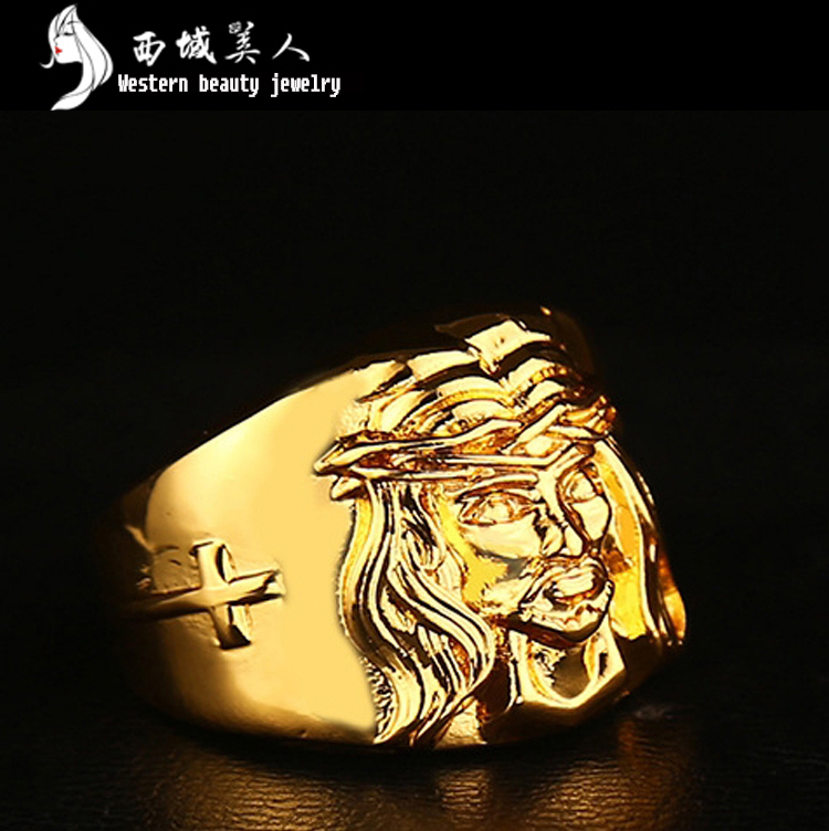 Retail Free Shipping 2015 Men's High Quality New 24K Gold Plated Lion Wedding Ring Hip Hop Jewelry 1 Piece(China (Mainland))