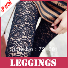 2013 Hot Sexy Lace Patchwork Faux Leather Pants Black Skinny Legging Ankle Length Trousers 800pcs Free Shipping SLG143(China (Mainland))