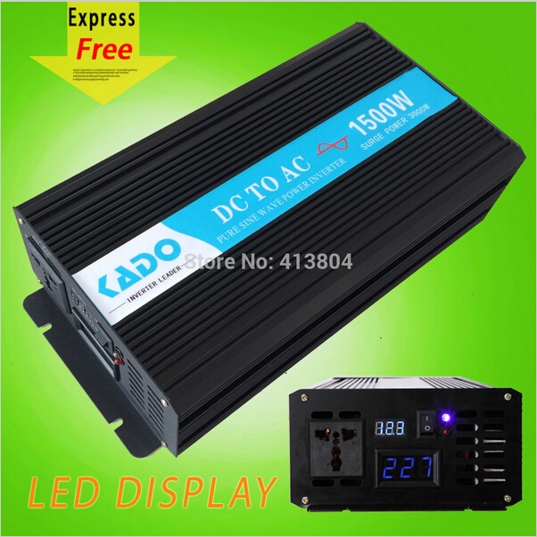 LED Display 1500w DC to AC voltage converter 12v to 220v Off Grid Pure Sine Wave power Inverter car inverter Home power Supply(China (Mainland))