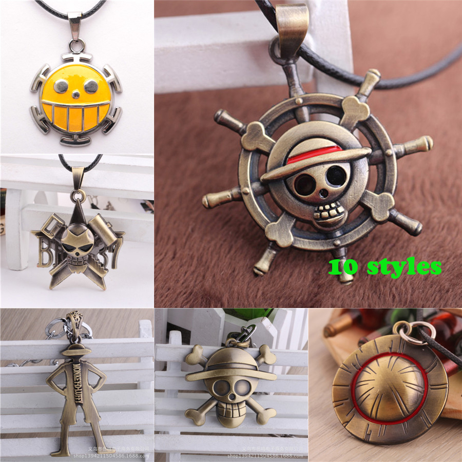 One Piece Luffy Skull/Luffy straw hat /Smiling Face/ Rudder Skull Steering-Wheel Pendant Necklace Rope Necklaces Anime Gift(China (Mainland))