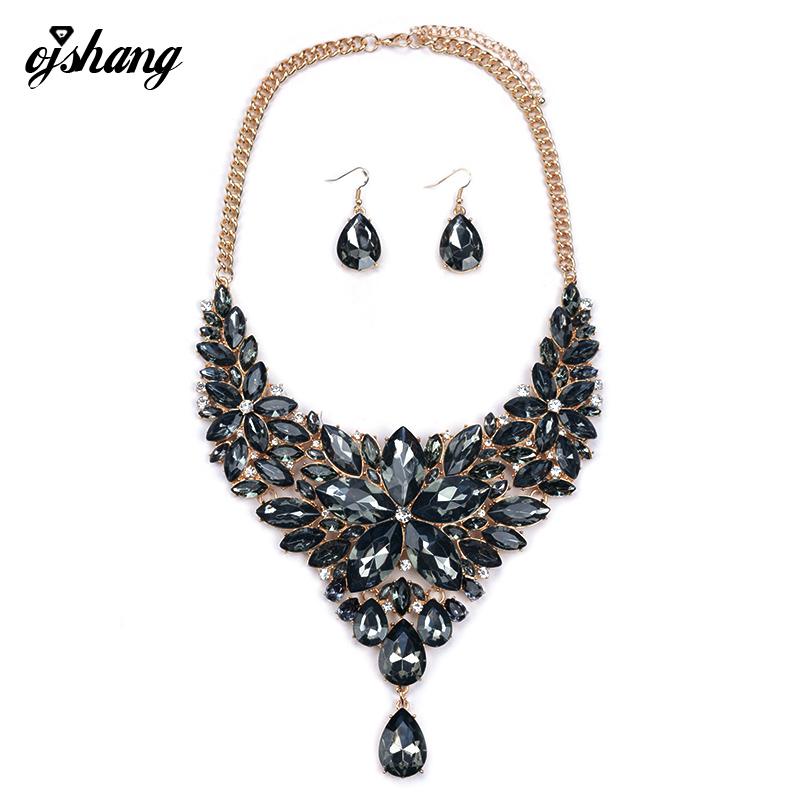 Jewelry Sets Women Crystal Necklace Earring Choker ZA Flower Black Jewellery Rhinestone Wedding African Gem Fashion Accesory 768(China (Mainland))