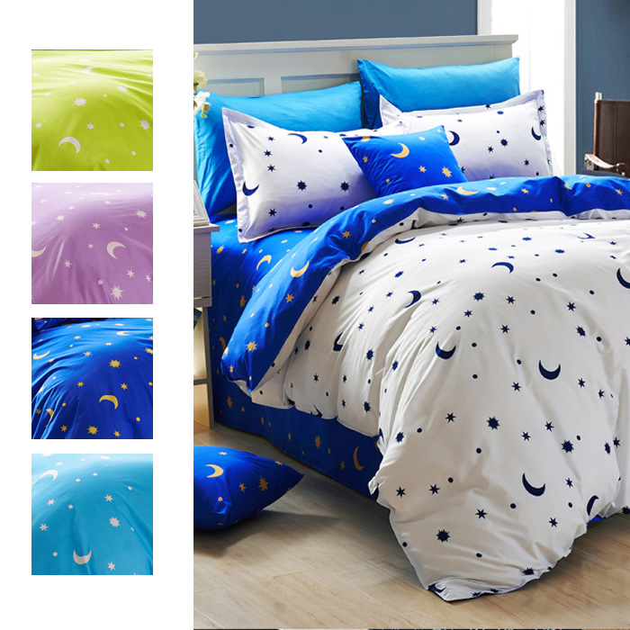 Moon and stars bedding sets,print duvet cover set with